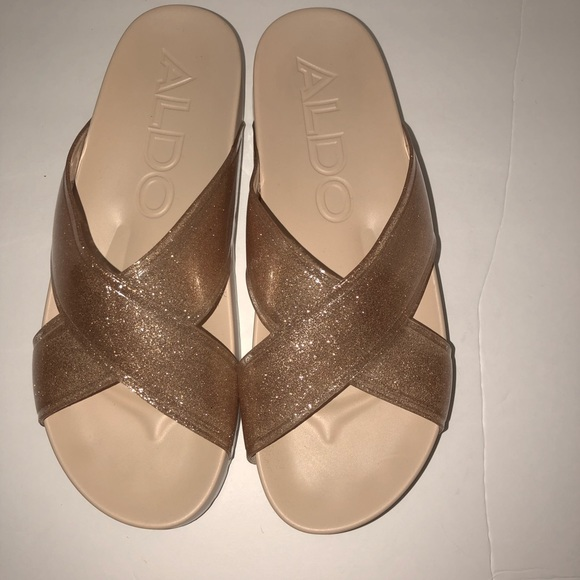 cece7c2f096 Aldo Shoes - Aldo gold glitter pool spa slides